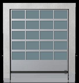 Brama przemysłowa segmentowa aluminiowa z dolnym panelem aluminiowym pełnym