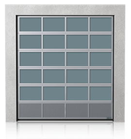 Brama przemysłowa segmentowa aluminiowa z dolnym panelem wentylowanym (siatka cięto ciągniona)