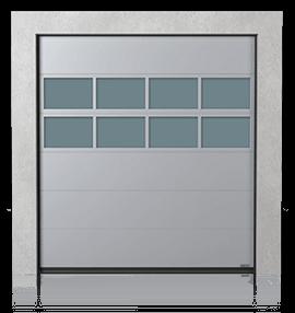 Brama przemysłowa segmentowa z panelem aluminiowym przeszklonym x2