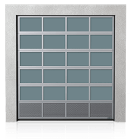 Brama przemysłowa segmentowa aluminiowa z dolnym panelem wentylowanym (blacha perforowana)