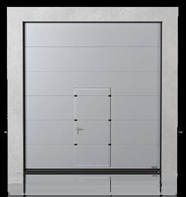 Brama przemysłowa segmentowa z drzwiami przejściowymi