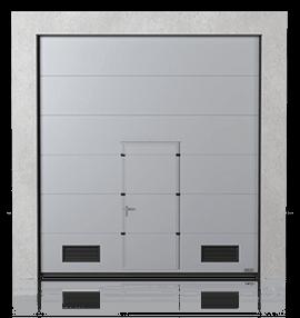 Brama przemysłowa segmentowa z drzwiami przejściowymi i kratkami wentylacyjnymi K-2