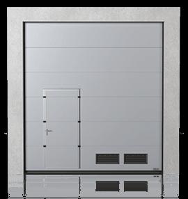 Brama przemysłowa segmentowa z drzwiami przejściowymi przesuniętymi i kratkami wentylacyjnymi K-2