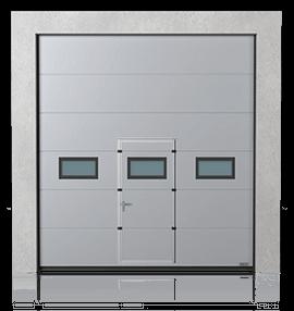 Brama przemysłowa segmentowa z drzwiami przejściowymi i okienkami B-2