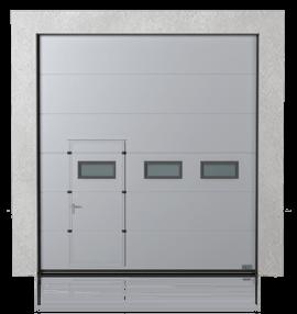 Brama przemysłowa segmentowa z drzwiami przejściowymi przesuniętymi i okienkami A-1