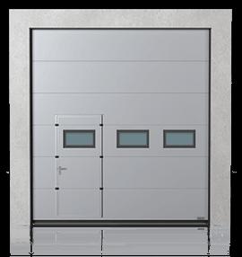 Brama przemysłowa segmentowa z drzwiami przejściowymi przesuniętymi i okienkami B-2