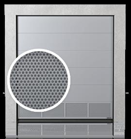 Brama przemysłowa segmentowa z dolnym panelem wentylowanym (blacha perforowana)