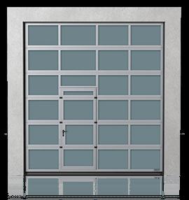 Brama przemysłowa segmentowa aluminiowa z drzwiami przejściowymi przesuniętymi