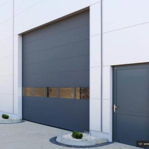 Brama garażowa przemysłowa segmentowa z panelem aluminiowym przeszklonym grafit