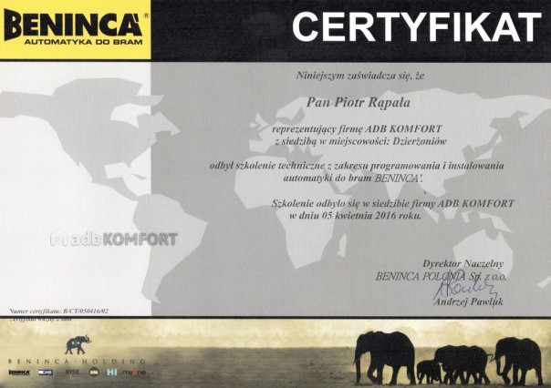Certyfika Beninca 2