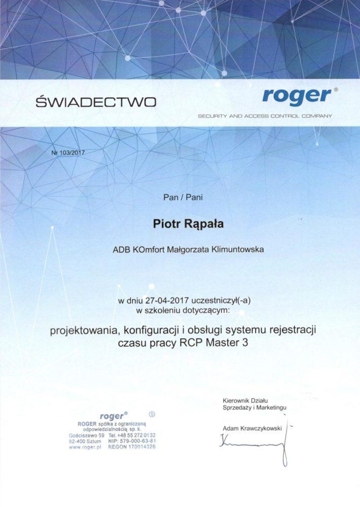 Certyfikat ROGER - świadectwo szkolenia RCP tejestracji czasu pracy
