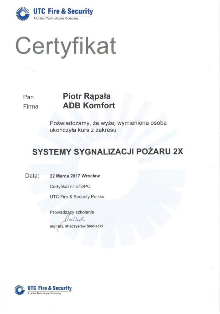 Certyfikat ukończenia kursu systemy sygnalizacji pożaru UTC Fire & SecurityCertyfikat ukończenia kursu systemy sygnalizacji pożaru UTC Fire & Security