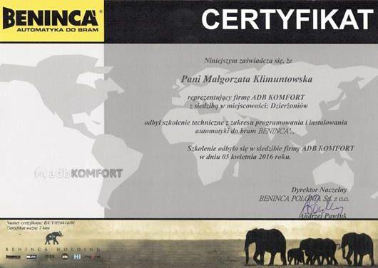 Certyfikat BENINCA - uprawnienia do instalowania automatyki Beninca