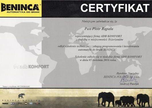 Certyfikat BENINCA - uprawnienia do instalowania automatyki Beninca 2