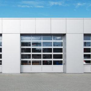 Bramy garażowe przemysłowe aluminiowe z drzwiami przejściowymi z przeszkleniami