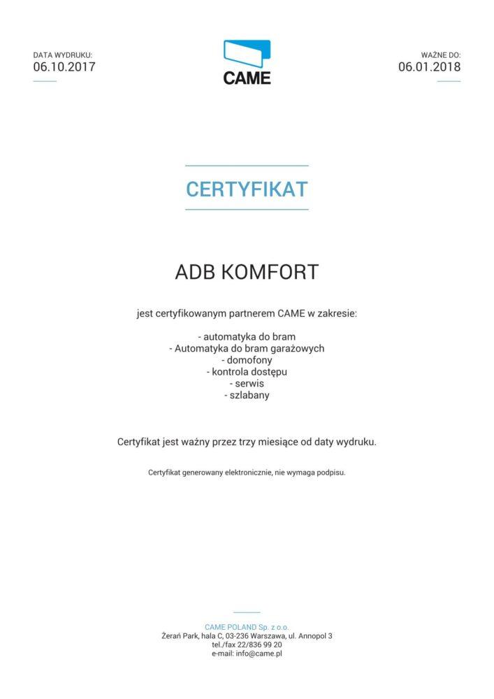 Certyfikat Came ADB Komfort_01