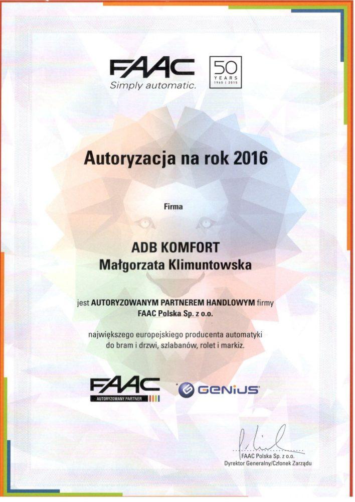 Certyfikat FAAC - ADB KOMFORT jest autoryzowanym handlowym partnerem