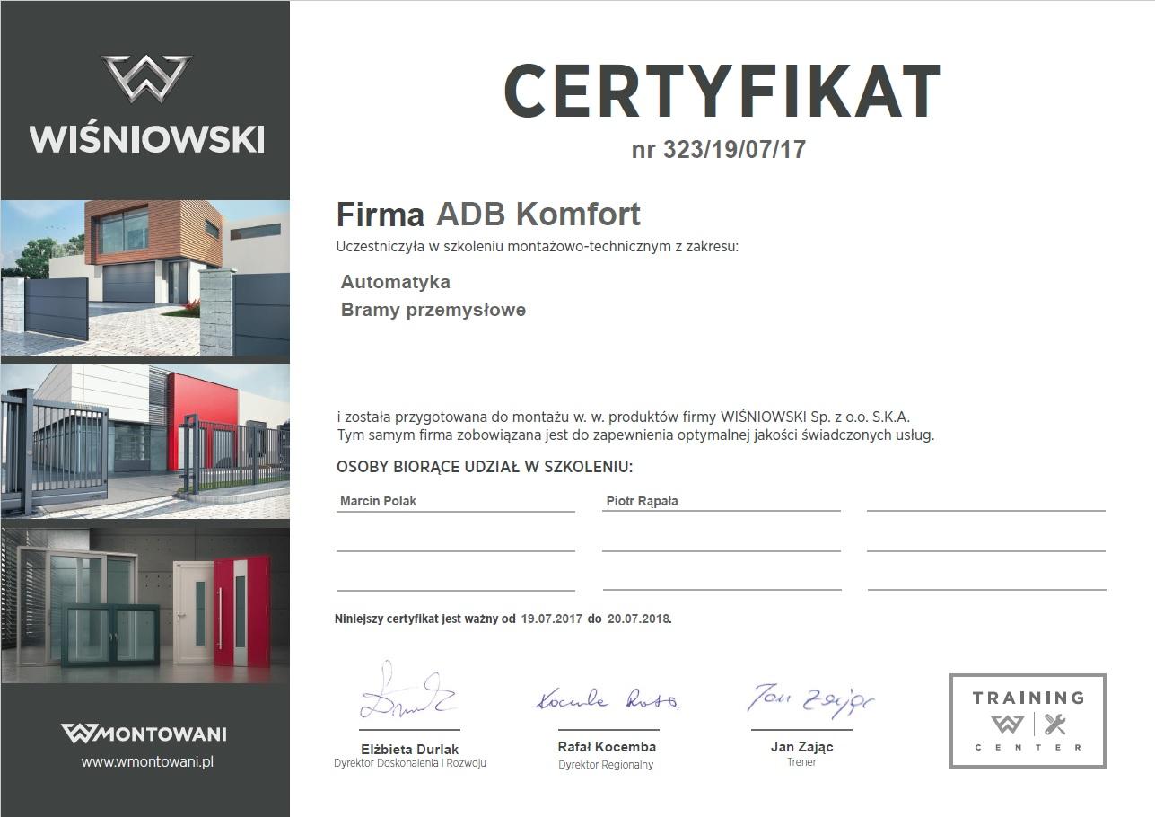 Certyfikat Wiśniowski ADB Komfort
