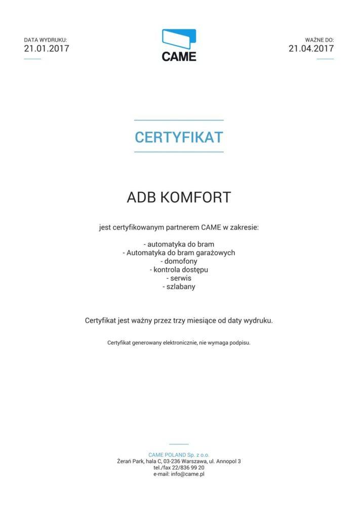 Certyfikat_CAME_01