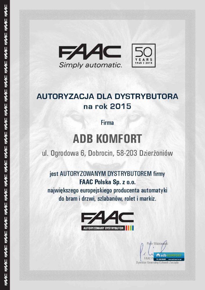 FAAC_certyfikat_dystrybutor_v3_ADB-KOMFORT