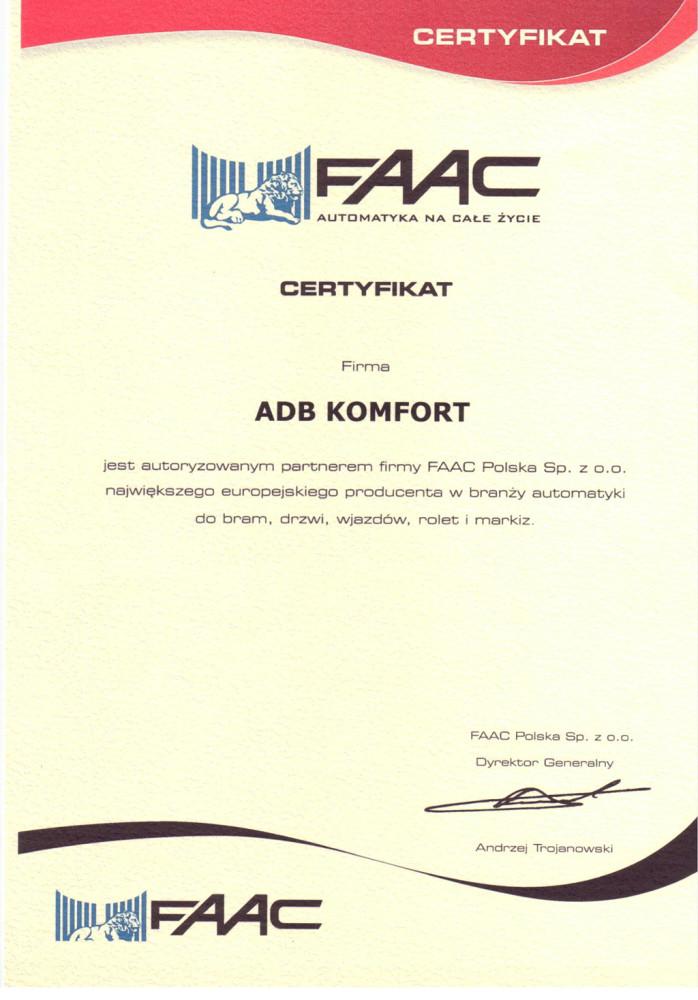 certyfikat FAAC