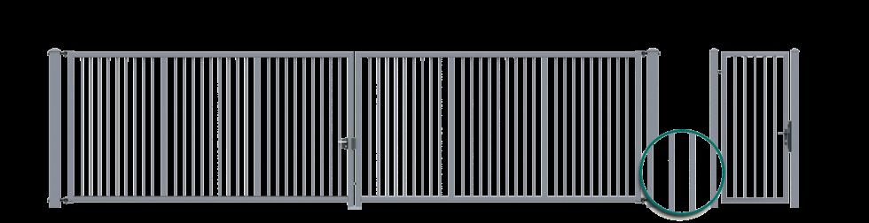 Brama dwuskrzydłowa z wypełnieniem kształtownikiem zamkniętym 25x25mm