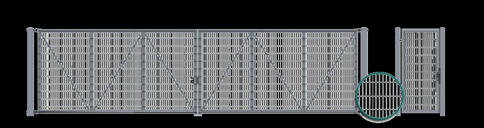 Brama dwuskrzydlowa z wypełnieniem panelem kratowym VEGA 2D Super